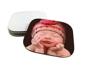"Hardboard Sublimation Drink Coasters - Rounded Corners - 4"" x 4"""