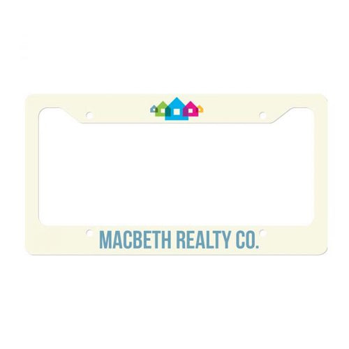 White Semi-Gloss Aluminum License Plate Frame for Sublimation Printing - 6.46