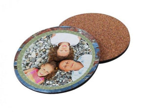 "Cork-Back MDF Sublimation Drink Coasters - 3.75"" Round"