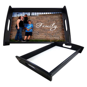 "Small Serving Tray in Espresso Black Color with Sublimation Insert - 8"" x 13"""