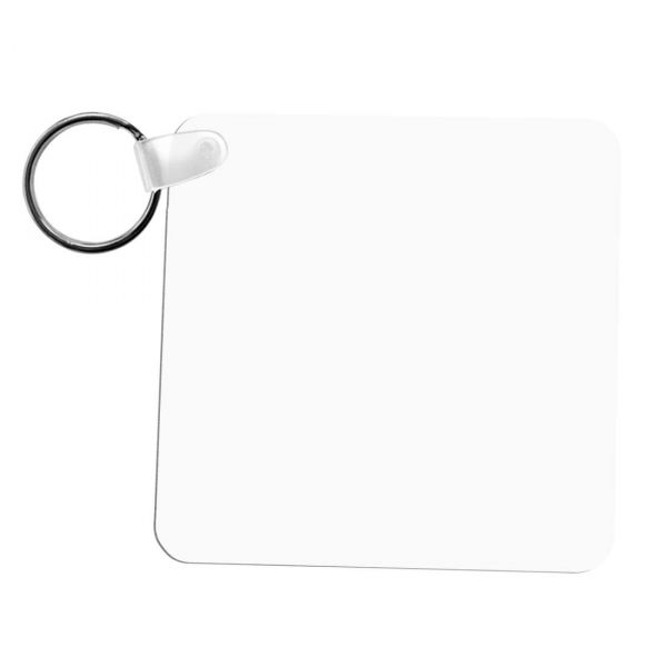 Square FRP Plastic Two Sided Sublimation Keychain - 2.25