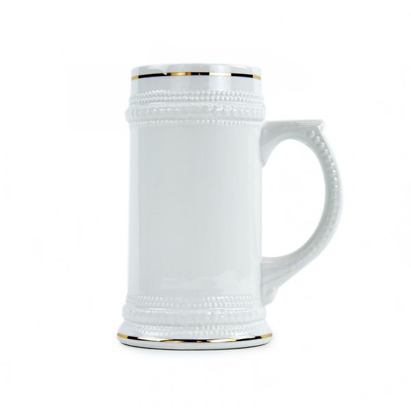 White Ceramic Sublimation Beer Stein with Gold Trim - 22oz.