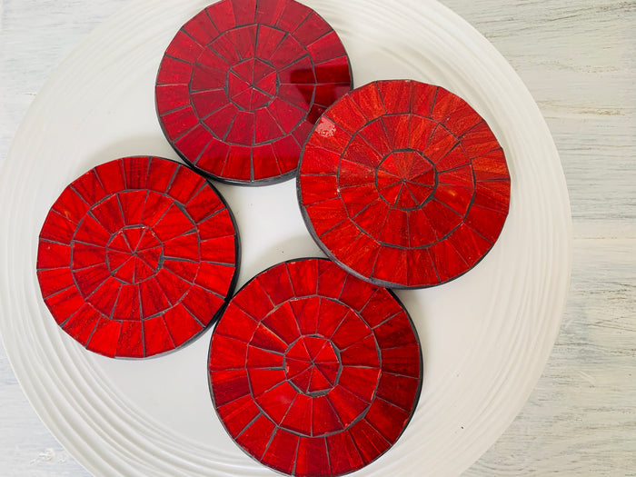 Mosaic Glass coasters words bowls art