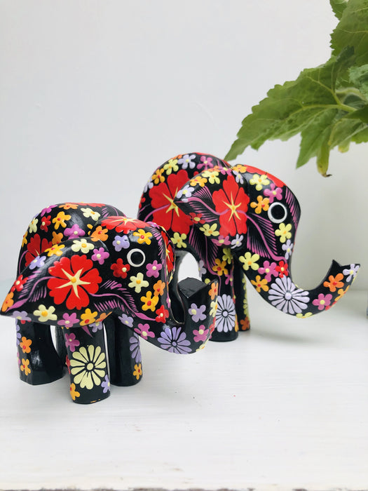Flower Elephant - Black - Large