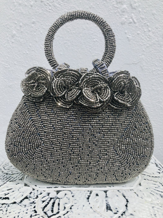 Rose Beaded Handbag - Metallic Silver