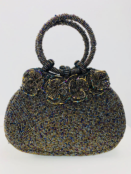 Rose Beaded Handbag - Metallic Multi
