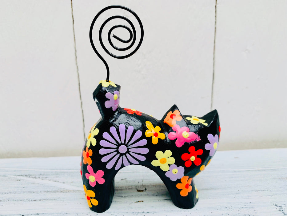 Arched Flower Kitty - BLACK