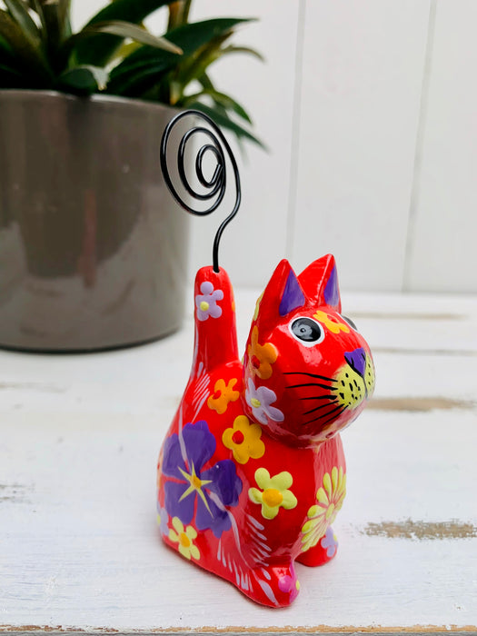 Sitting Flower Kitty - RED