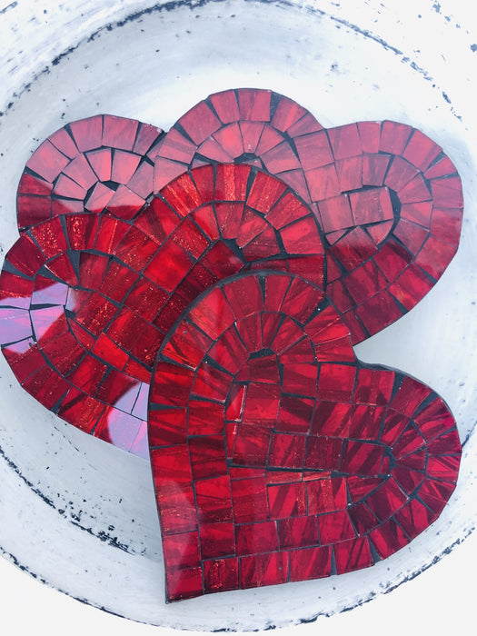 Mosaic Coasters - Heart Cherry Red