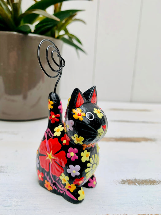 Sitting Flower Kitty - BLACK