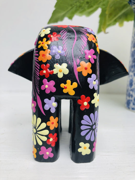 Flower Elephant - Black - Small
