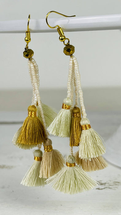 Tassel Earrings - Cream