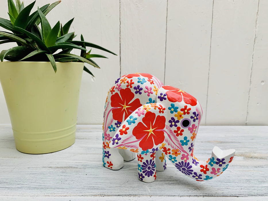 Flower Elephant - White - Large