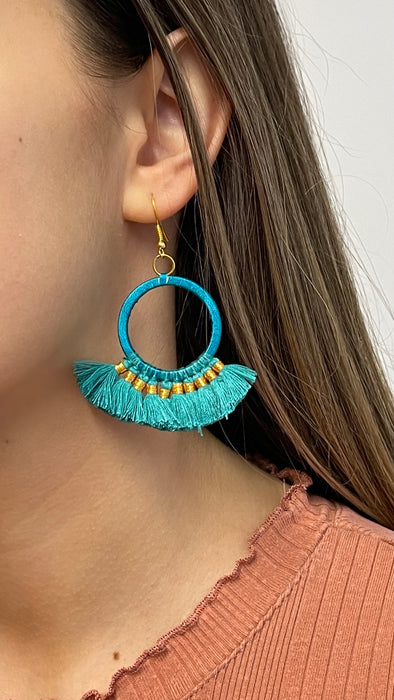 Tassel Hoop Earrings - Turquoise