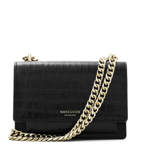 The Regis Gold Croc Embossed Side Bag - Black
