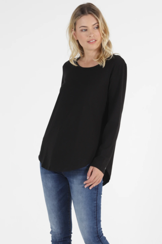 Megan Long Sleeve Top - Black - et seq fashion