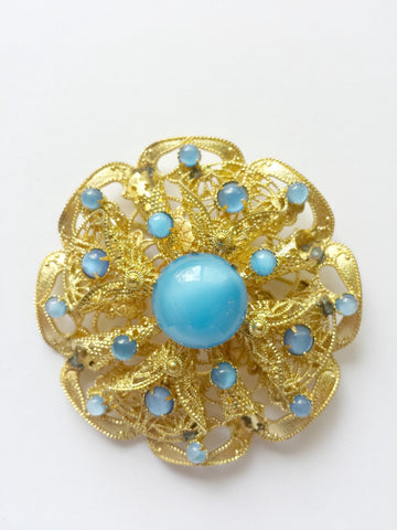 Filigree brooch with blue stone - Accessories Of Old