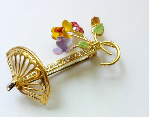 Umbrella shaped pin with rhinestone detail - Accessories Of Old