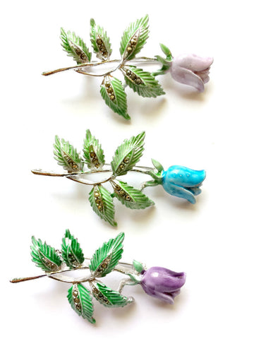 Enamel Rose brooch with marcazite detail in leaves - THIS ITEM IS SOLD OUT - Accessories Of Old