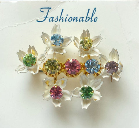 Enamel and rhinestone brooch - Accessories Of Old