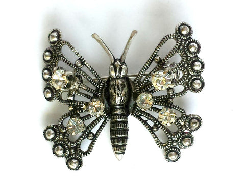 Butterfly Brooch with Rhinestone Detail - SOLD OUT - Accessories Of Old