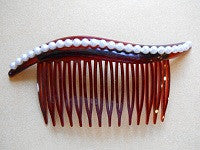 Hair comb with faux pearl bead