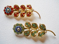 1940's Floral rhinestone and beaded brooch - Accessories Of Old