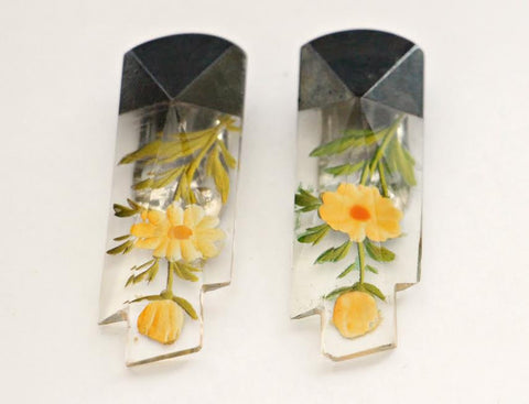 A Matching Pair of Glass Dress Clip with hand painted detail - SORRY THIS ITEM IS SOLD - Accessories Of Old