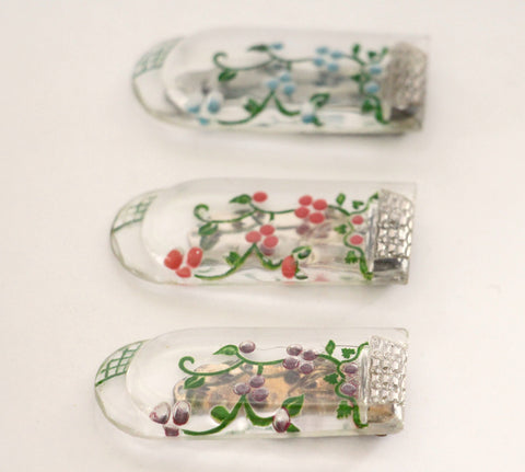 Glass dress clip  with  painted floral design. - Accessories Of Old