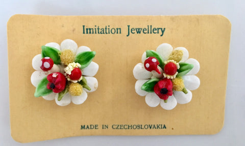 Vintage Czech clip on earrings glass floral bunches - Accessories Of Old