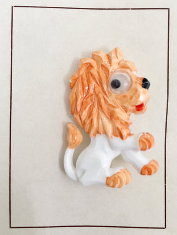 1960's Vintage Lion brooch with googly eye on original card