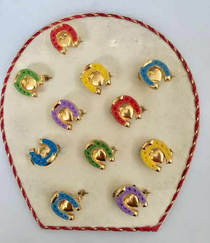 Vintage flocked miniature lucky horseshoes pin/brooch - Accessories Of Old