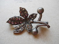Marcazite leaf design brooch