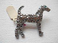 Marcazite dog brooch