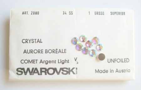 Swarovski crystal Aurore Boreale Comet Argent Light. flatback. Art 2000 - Accessories Of Old