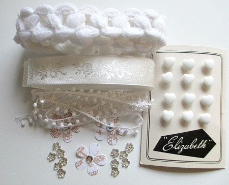 White assorted vintage trim craft pack