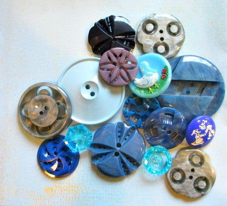 Vintage assorted button bag - blues - Accessories Of Old