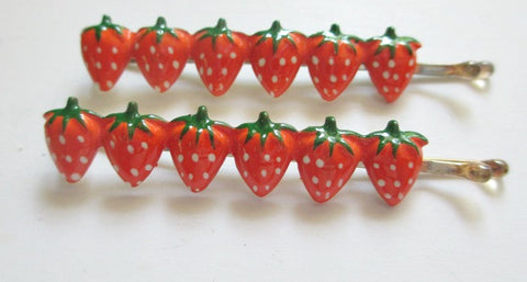 1960s Bobby Pins. Row of strawberries. Sold by the pair $4.00 - Accessories Of Old