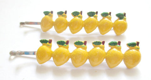 1960s Bobby Pins . Row of lemons. Sold by the pair $4.00 - Accessories Of Old