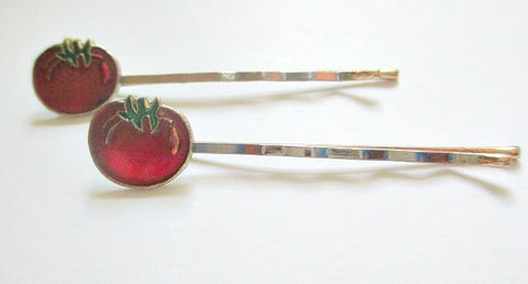 1960s single tomato design bobby clip. Sold by the pair - Accessories Of Old