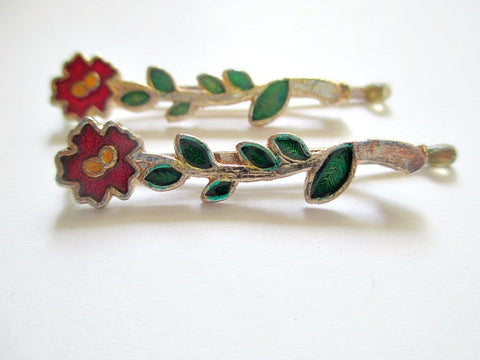 1960s Bobby pins. Flower design. Sold by the pair. $4.00 - Accessories Of Old