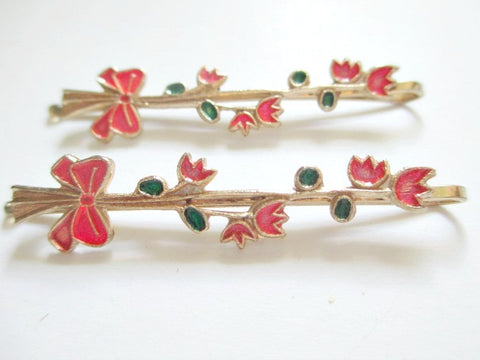 1960s Bobby pins. Floral and ribbon design. Sold by the pair. $4.00 - Accessories Of Old