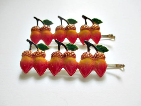 1960s bobby pins. Row of acorns. Sold by the pair. $4.00 - Accessories Of Old