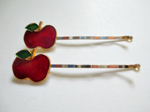 1960s single apple Bobby Pin. Sold by the pair. $4.00 - Accessories Of Old