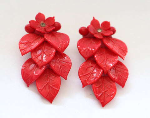 Pair of Czech glass carved floral dress clip- SORRY THIS ITEM IS SOLD - Accessories Of Old