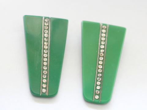 Matching pair of glass dress clips- SOLD