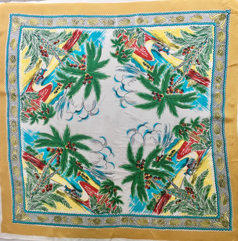 1940's Japanese Rayon Novelty Scarf - Accessories Of Old