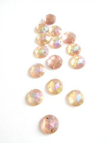 Vintage pink AB round flatback 10mm - Accessories Of Old