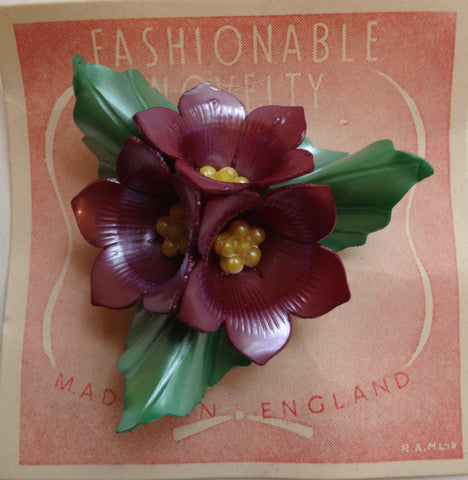 English Made Celluloid Floral Brooch - SOLD - Accessories Of Old