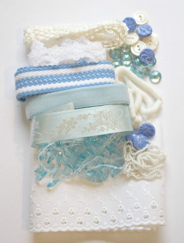Vintage craft kit in blues and white